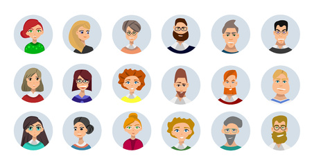 Conjunto de diversos avatares redondas aisladas sobre fondo blanco. ropa y peinados diferentes. estilo de dibujos animados lindo y simple plana