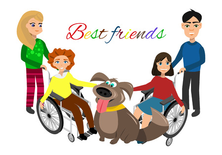 handicapped: Special needs children with friends, friends and handicapped children. Vector illustration. Funny kids with dog Illustration
