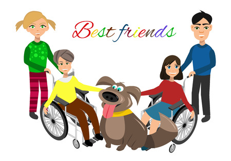 needs: Special needs children with friends, friends and handicapped children. Vector illustration. Funny kids with dog Illustration