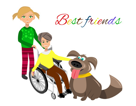 special needs: Special needs children with friends, friends and handicapped children. Vector illustration. Funny kids with dog Illustration
