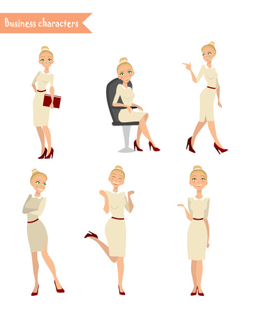 woman smiling: Set characters business woman, Business Girl, different poses