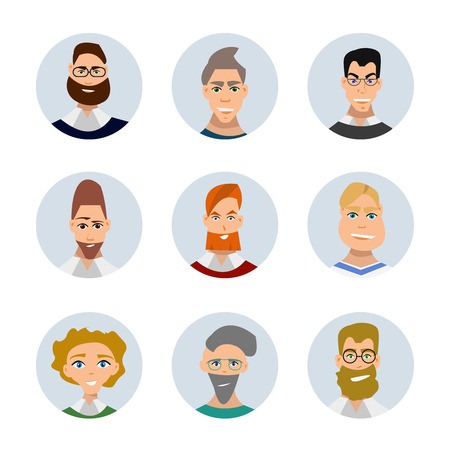 indian professional: Set of diverse round avatars isolated on white background. Different clothes and hair styles. Cute and simple flat cartoon style