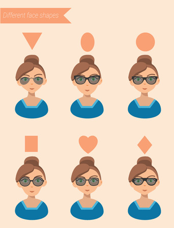 girl wearing glasses: Womens Sunglasses Shapes for different face shapes vector illustration Illustration