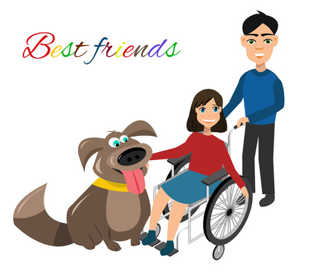 dog wheelchair: Special needs children with friends, friends and handicapped children. Vector illustration. Funny kids with dog Illustration