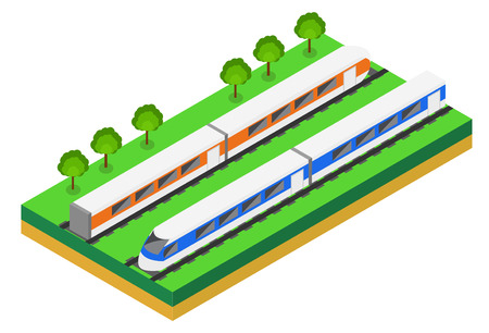 the high speed train: Fast Train. Vector isometric illustration of a Fast Train. Vehicles designed to carry large numbers of passengers. Isolated vector of modern high speed train. Illustration
