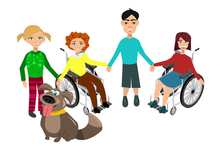 special education: Special needs children with friends, friends and handicapped children. Vector illustration. Funny kids with dog Illustration