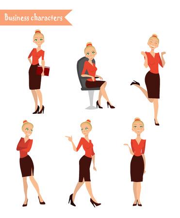 Set Zeichen Business-Frau, Geschäfts Mädchen, verschiedenen Posen