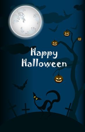 halloween black cat: halloween, black cat on moon background with pumpkins Illustration