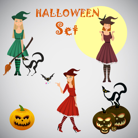 31: young happy and attractive witches Halloween collection Illustration