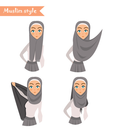 wears: Muslim woman wears hijab, instructions on how to wear hijab