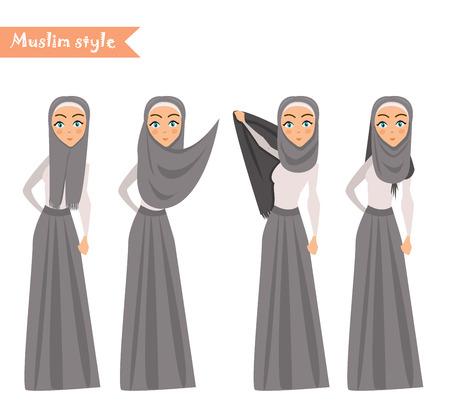 Muslim woman wears hijab, instructions on how to wear hijab