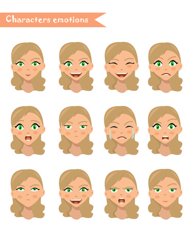 emotion expression: girl emotion face expression icons and beauty girl emotion face vector. Isolated set of Human emotion face avatar expressions face emotions vector illustration. woman emotion face set.