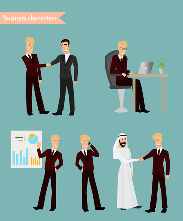 burgundy: Retro Vintage Successful Businessman Working Set. Traditional National Muslim Clothes Cartoon Characters Icon Stylish Background Retro Cartoon Design Vector Illustration
