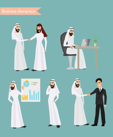 Rétro homme d'affaires prospère arabe Jeu de travail national traditionnel vêtements musulmans Cartoon caractères fond icône de style rétro Cartoon Design Illustration Vecteur