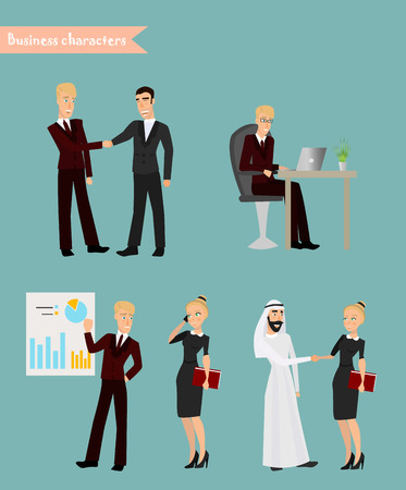 vector set of businessman and businessman character poses, gestures and actions. Office worker professional talking on phone, working, negotiations with the Arabic businessman and businesswoman