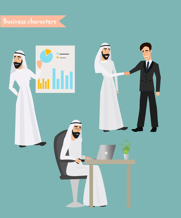 Retro Vintage Successful Arab Businessman Working Set Traditional National Muslim Clothes Cartoon Characters Icon Stylish Background Retro Cartoon Design Vector Illustration