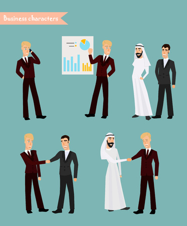 Retro Vintage Successful Businessman Working Set. Traditional National Muslim Clothes Cartoon Characters Icon Stylish Background Retro Cartoon Design Vector Illustration