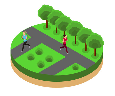 female athletes: woman running. Fitness, sport, people and healthy lifestyle concept. Flat 3d vector isometric illustration.