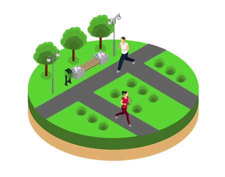 female athletes: Man and woman running. Fitness, sport, people and healthy lifestyle concept. Flat 3d vector isometric illustration.