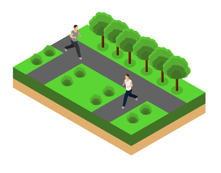 female athletes: Man running. Fitness, sport, people and healthy lifestyle concept. Flat 3d vector isometric illustration.