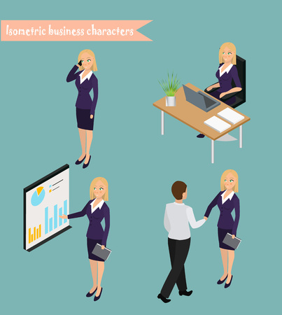 Business woman management. flat icons collection with conference meetings and workshop presentations abstract isolated illustration Illustration