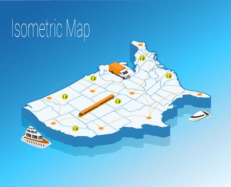 Map America isometric concept. 3d flat illustration of Map America