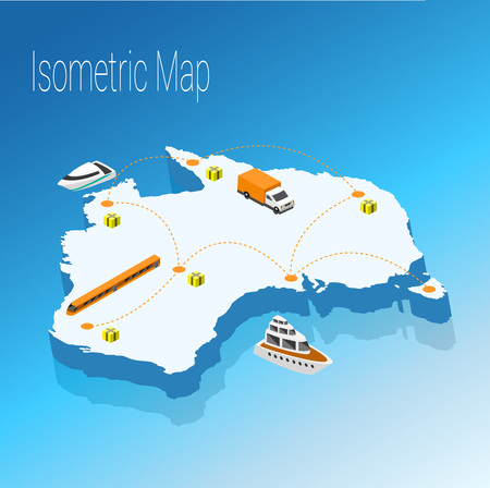 Map australia isometric concept. 3d flat illustration of Map australia.