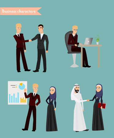 discussing: Arab Business People Meeting Discussing Office Desk Muslim Arabic Businesspeople Working Flat Vector Illustration