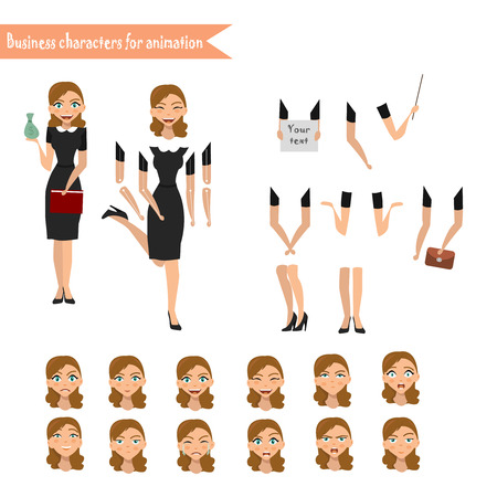 Pupil character for your scenes. Parts of body template for design work and animation Illustration