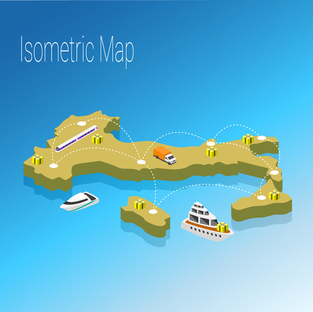 Map Italy isometric concept. 3d flat illustration of Map Italy.