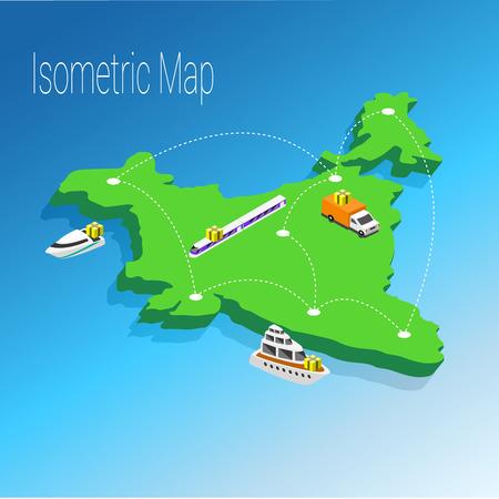 Map India isometric concept. 3d flat illustration of Map India. Illustration