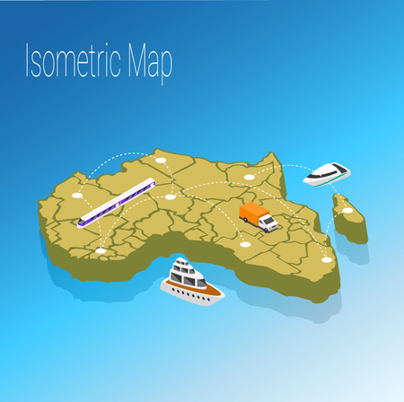 high speed train: Map Africa isometric concept. 3d flat illustration of Map Africa.