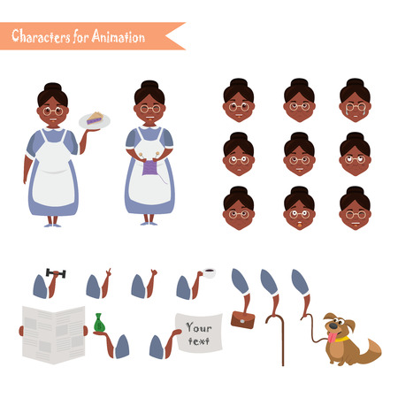 African American Grandmother housewife character for scenes. Parts of body template for animation.