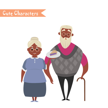Couple of African American older people. African American Grandmother and grandfather.
