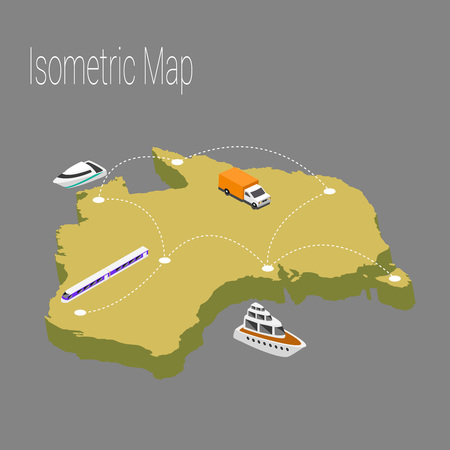 high speed train: Map australia isometric concept. 3d flat illustration of Map australia.