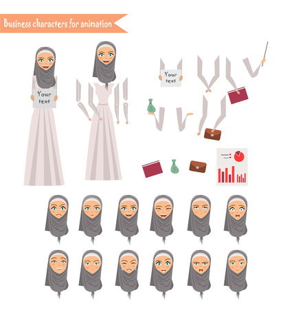 Arab businesswomen character for your scenes. Parts of body template for design work and animation