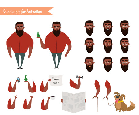 African American Boy character for your scenes. Parts of body template for design work and animation. Vector illustration isolated on white background. Hipster beard