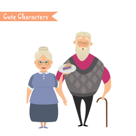 Couple of older people. Grandmother and grandfather. Vector illustration greeting. Lovely elderly couple