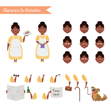 African American Grandmother housewife character for scenes. Illustration
