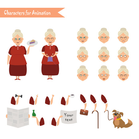Grandmother housewife character for scenes. Parts of body template for animation.