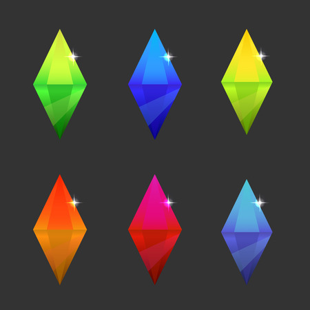 Set of cartoon different color crystals, gemstones, gems, diamonds vector gui assets collection for menu for mobile game design.isolated vector elements. Gui elements, vector games assets.