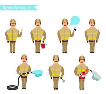 Set for animation of firefighters in uniform, protective suit with axe, fire hose, cartoon vector illustration isolated on white background. Young firefighter, fireman set.