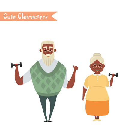 Couple of African American older people. African American Grandmother and grandfather. Vector illustration greeting. Lovely elderly couple