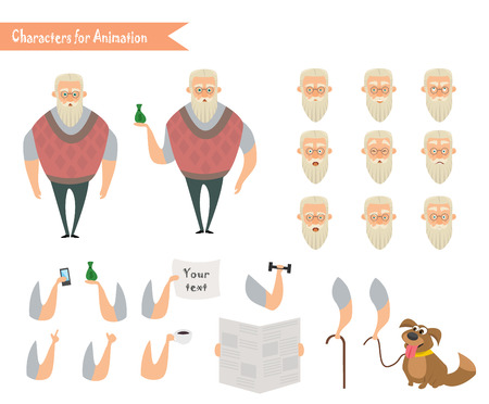old phone: Grandfather character for scenes. Parts of body template for animation. Funny Old Man cartoon. Emoji face icons