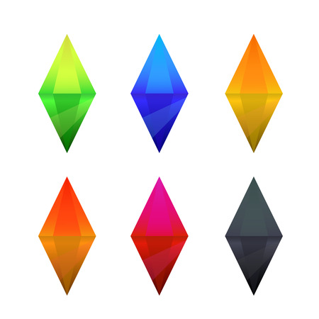 Set of cartoon different color crystals, gemstones, gems, diamonds vector gui assets collection for game design.isolated vector elements. Gui elements, vector games assets. menu for mobile games