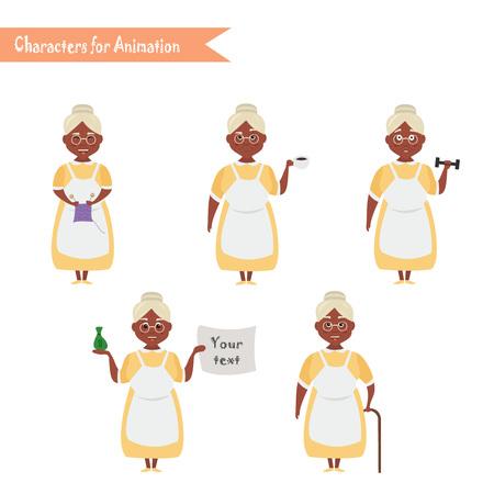 African American Grandmother housewife character for scenes. Funny African American Grandmother housewife cartoon.