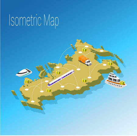 high speed internet: Map Russia isometric concept. 3d flat illustration of Map Russia.