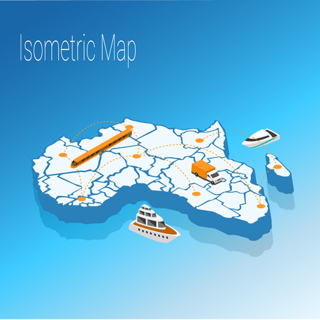 high speed internet: Map Africa isometric concept. 3d flat illustration of Map Africa.