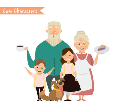 Grandfather and granddaughter, grandmother and grandson. Happy family Illustration