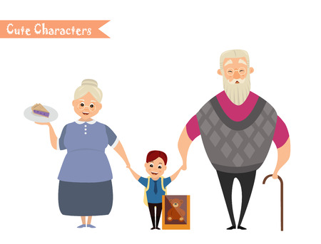 mujer en el supermercado: Set of characters and people shopping. Vector illustration of a flat design. Happy family shopping Vectores
